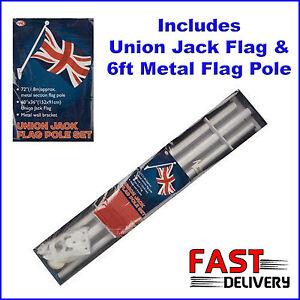 Union-Jack-Flag-6ft-1-8M-Metal-Flag-Pole-Set-w-Wall-Brackets-Jubilee-Olympics