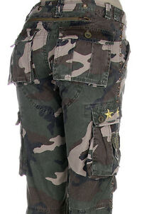 Women-Green-Camo-Army-Designer-Fashion-Capri-Cargo-Pants-S-M-L-NWT