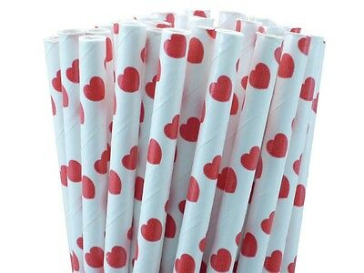 "25 Paper Drinking Straws Red Hearts  7.75"" Retro Vintage Style  Valentines Day"