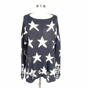 Khloe-Kardashian-Wildfox-Gray-Knit-Star-Pattern-Sweater-Shredding-Detail-Size-S
