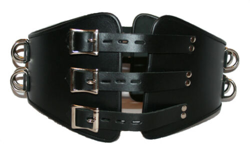 Mans Heavy Duty Cow Leather Male LOCKABLE Corset  Cincher Bondage Waist Belt