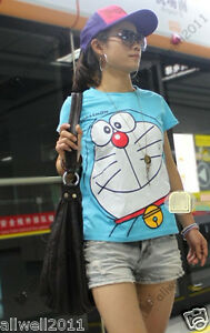 Doraemon-T-shirt-Printed-Cartoon-Blue-Clothing-Size-S-New-Style