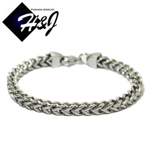 "8.5""MEN's Stainless Steel 6mm Silver Franco Cuban Curb Box Chain Bracelet"