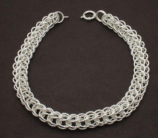 "16"" Diamond Cut Round Byzantine Chain Necklace Sterling Silver 925 38gr"
