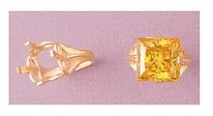 (10x10-14x14mm) Square Regalle 14kt White or Yellow Gold Ring Setting (Size 6-8)