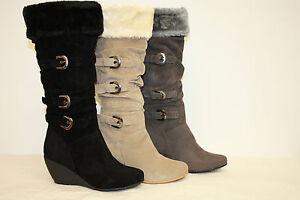 NIB-Womens-Velvet-Knee-High-Wedge-Boots