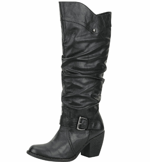 Women's Black  Western Cowboy Mid Knee High Boot With Buckles Shoes Size 6