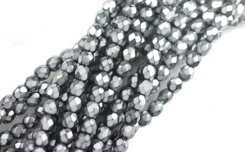 100 Grey Sparkle Faceted Round Glass Beads 4MM
