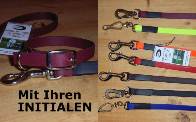 Leinenset mit Ihren INITIALEN, Leine, Halsband, BioThane, 13mm, versch. Farben
