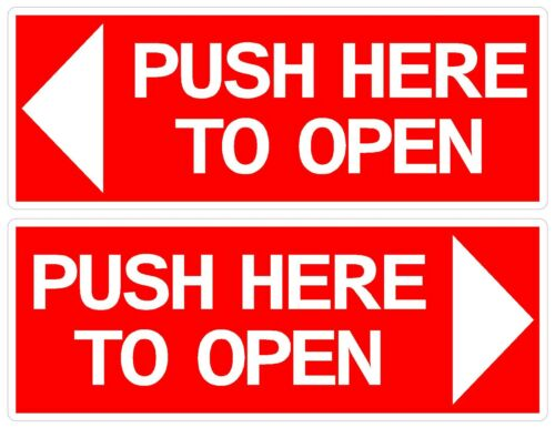 pair PUSH HERE TO OPEN DOOR STICKER MINIBUS TAXI BUS COACH QTY X 4 80 X 25 mm