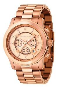 New-Michael-Kors-MK8096-Mens-Runway-Rose-Gold-Oversized-Chronograph-Watch