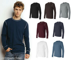 Canvas-Mens-Size-S-2XL-Long-Sleeve-Contrast-Stitch-Lombard-Thermal-T-Shirt-3500