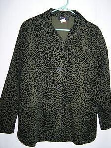 Womens-BRAETON-Army-Green-Black-Animal-Print-Button-Down-Shirt-Size-M