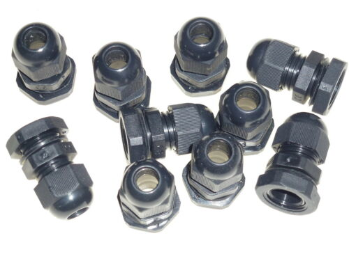 10 x 16mm black waterproof compression TRS cable gland stuffing IP68 locknut M16