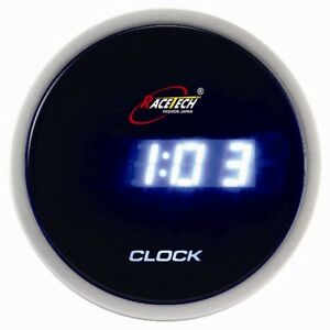 52mm car auto gauge meter digital clock time blue led lcd. Black Bedroom Furniture Sets. Home Design Ideas