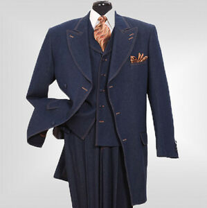 New-Mens-3-piece-3-button-Milano-Moda-Stylish-Fashion-Denim-Suit-5283