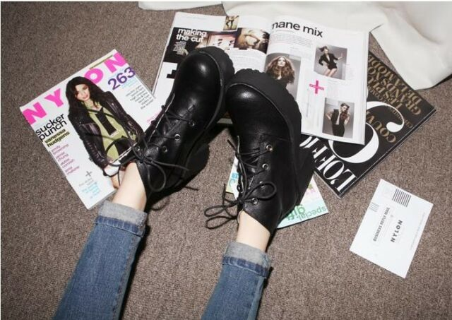 Ladies Black Punk Gothic Lace Up  Chunky Heels Platform Ankle Boots Shoes #m8