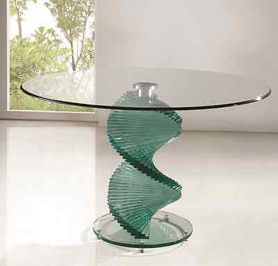 ROUND TWIRL GLASS DINING ROOM TABLE ONLY  - (IN TWO COLOURS)  -FURNITURE-  IJ833