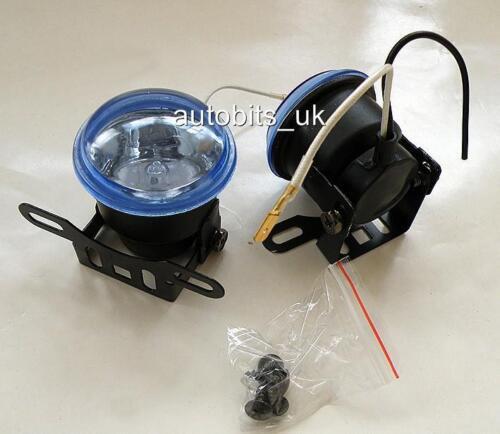 """UNIVERSAL 12v BLUE ROUND FOG SPOT LIGHTS LAMPS LIGHT 2.44"""" NEW FOR FORD MAZDA"""