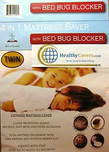 HypoAllergenic BED BUG BLOCKER Zippered Mattress Protective Cover~ Fits to 15""
