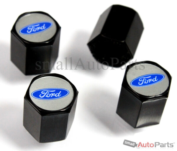 (4) Ford Blu Ovale Logo Abs Nero Pneumatico / Ruota Stelo Valvola Aria Tappi Set
