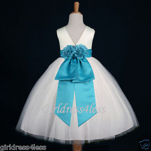 IVORY-TURQUOISE-WEDDING-DANCE-GOWN-FLOWER-GIRL-DRESS-12M-18M-2-3-4-6-6X-8-10-12