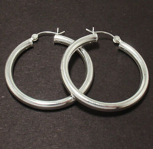 4mm-Thick-Plain-Hoop-Earrings-925-Sterling-Silver-ALL-SIZES-FREE-SHIPPING