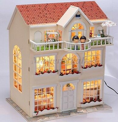 """1:12 Dollhouse 19""""H Deluxe House 3 Storey 5 rooms 3 Balcony DIY Light,Furniture."""