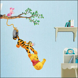 New cartoon disney winnie the pooh mural wall paper for Baby pooh and friends wall mural
