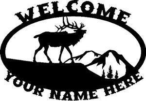 Custom-Moose-Elk-Oval-WELCOME-Sign-Steel-Hunting-Metal