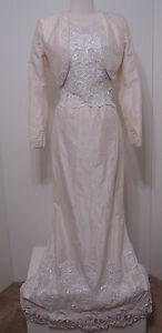 Vintage-Demetrios-3pc-100-Silk-Cream-Bead-Wedding-Gown-Jacket-Bustle-Train-NWT
