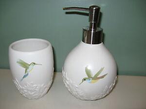 Hummingbird Ceramic Bathroom Cup Amp Soap Dispenser Garden
