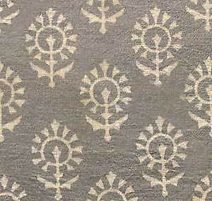 Hand-Block-Print-Cotton-Fabric-Natural-Dyes-2-Yards-Gray-amp-Beige