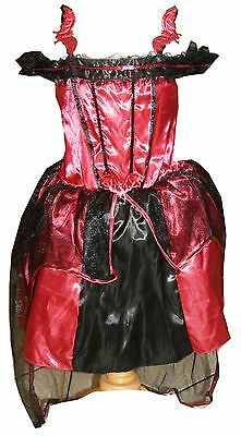 Red Vampire Bat Halloween Dress up Fancy Costume Party New 6 - 14 yrs