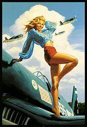 USA-PIN-UP-Greg-Hildebrandt-vintage-military-airplane-print-girl-24x36-poster