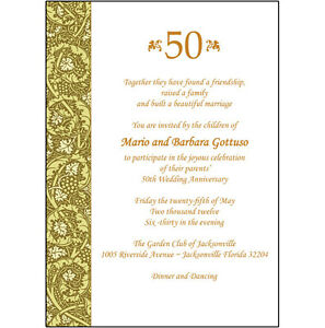 Image Is Loading 25 Personalized 50th Wedding Anniversary Party Invitations Ap