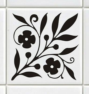 Tile Transfers FLORAL Black, White, Many colours (pack of 12)