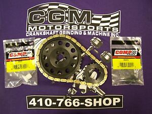 SBC-BILLET-HP-DOUBLE-ROLLER-PROGEAR-CHEVY-TIMING-CHAIN-SET-w-CAM-LOCK-PLATE-USA