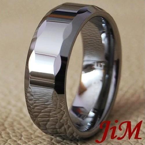 Men Tungsten Wedding Band Titanium Color Ring Size 6-15