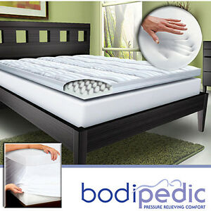 bodipedic 4 inch pillow top memory foam mattress topper full king queen size new ebay. Black Bedroom Furniture Sets. Home Design Ideas