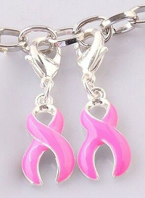 Pink Ribbon Charms Clip On Pendants Breast Cancer Awareness Lot of 10