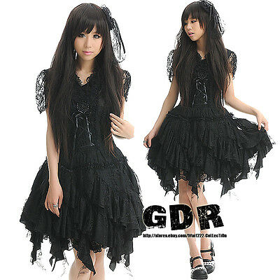 FreeShip X GOTHIC PUNK LOLITA ALICE 81096 RUFFLE DRESS +HAIRCLIPS S-L