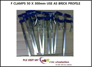 METAL-F-CLAMPS-50-X-300-MM-AN-IDEAL-SET-TO-USE-AS-BRICK-PROFILE-10PC