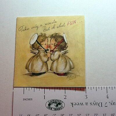 #B372- Vintage Marjorie M. Cooper Xmas Card Angels Kissing With Rosie Cheeks