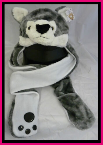 ANIMAL HAT WITH SCARF MITT,FAUX FUR ANIMAL HEAD SCARF HAT WITH HAND WARMERS
