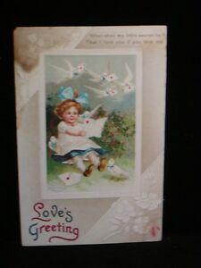 Antique-POSTCARD-c1910-era-034-Love-039-s-Greeting-034-What-Shall-My-Little-Secret-Be-X53