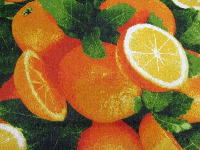 ORANGES CITRUS FRESH FRUIT COOK CALIFORNIA FLORIDA SEW CRAFT DECOR FABRIC BTHY#
