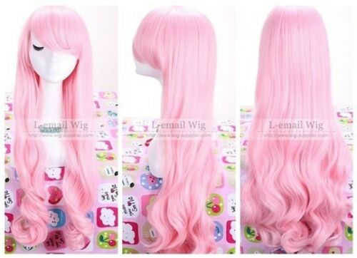 70cm New Janpan anime beautiful Pink long wavy cos Cosplay Party hair Wig C40020