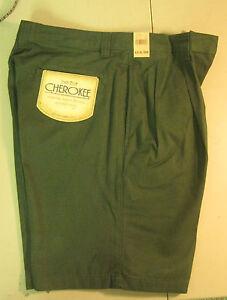 Mens-Boys-shorts-Chino-khaki-Olive-Green-32-33-34-36-38-Cherokee-cotton-new