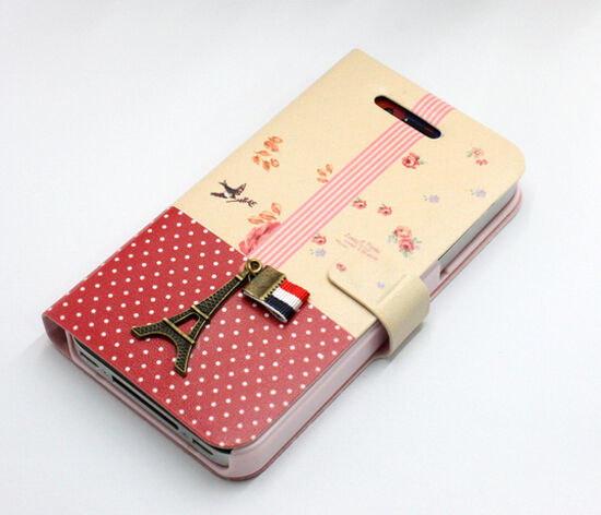 Exquisite 3D Eiffel Tower Leather Wallet Book Flip Skin Case for iPhone 4G 4S #A